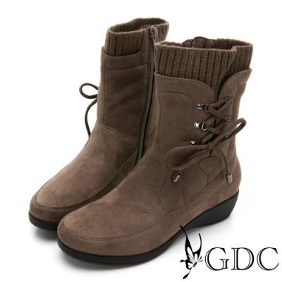 GDC-秋冬熱銷基本素色拼接綁帶金屬楔型襪靴-可可色