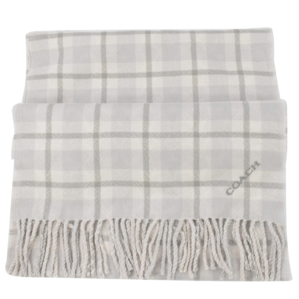 COACH 小LOGO格紋造型長型羊毛圍巾(灰白)COACH
