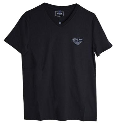 ARMANI JEANS 義大利製品牌LOGO圖騰V領T恤(黑/M號)