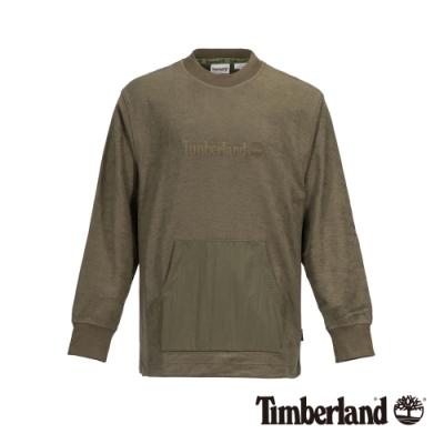 Timberland 男款軍綠色保暖刷毛大學T|A28Q6