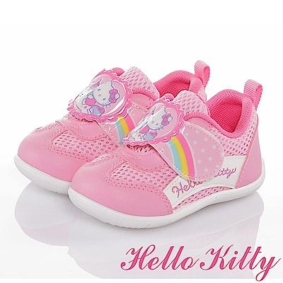 (雙 11 )HelloKitty彩虹系列輕量透氣抗菌減壓學步童鞋-粉