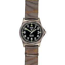 MWC瑞士軍錶 G10LM 步兵系列 沙漠卡其色軍事設計錶 -黑色/35mm