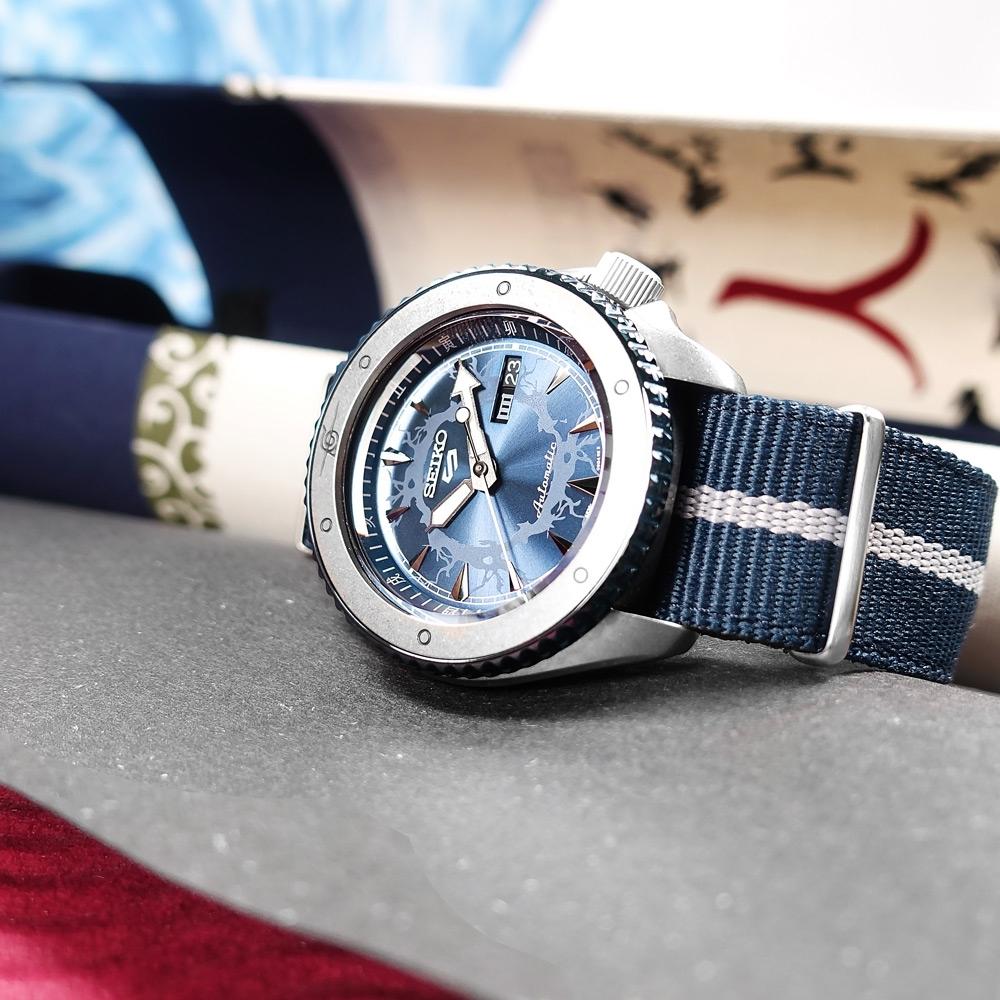 SEIKO 精工 限量款 5 Sports 機械錶 火影忍者 宇智波佐助 尼龍帆布手錶-藍色/41mm