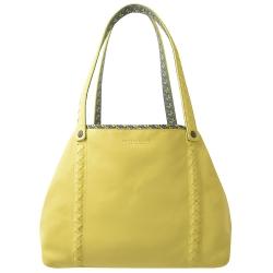 BOTTEGA VENETA 柔軟羊皮雙面托特購物包(黃/中)