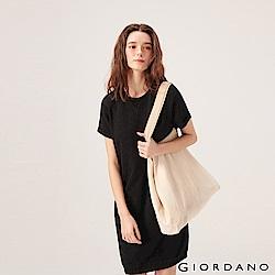 GIORDANO 女裝簡約素色純棉連身裙-09 標誌黑