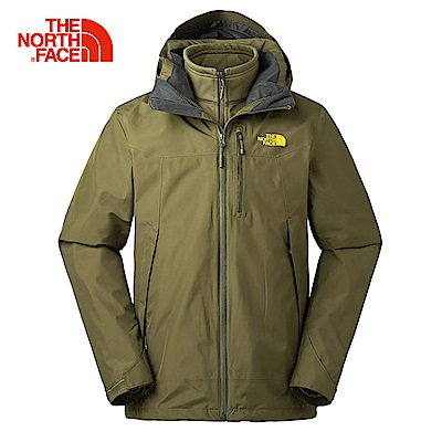 The North Face北面男款軍綠色防水透氣三合一外套|3KTC2WU