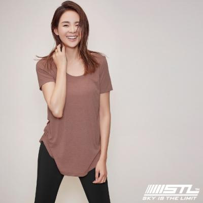 STL Yoga FANCY MODAL SS 韓國瑜珈 莫代爾 運動機能 輕透快乾 微合身低圓領短袖上衣 / 比基尼外罩 乾燥玫瑰DryRose