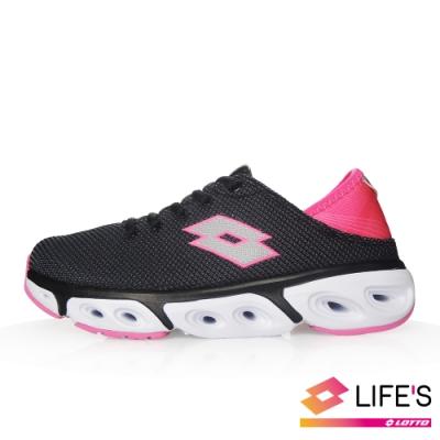 LOTTO 義大利 女 AIR FLOW 4.0 緩震健走鞋 (黑灰/桃紅)