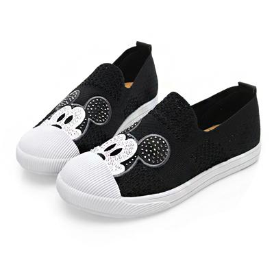 DISNEY 水鑽米奇飛織布懶人鞋-黑-DW5180CC