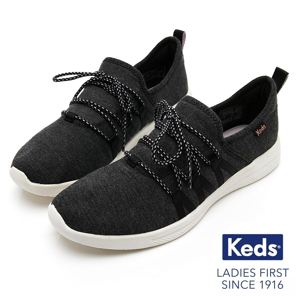 Keds STUDIO LIVELY 完美包覆襪模式輕量綁帶休閒鞋-碳灰