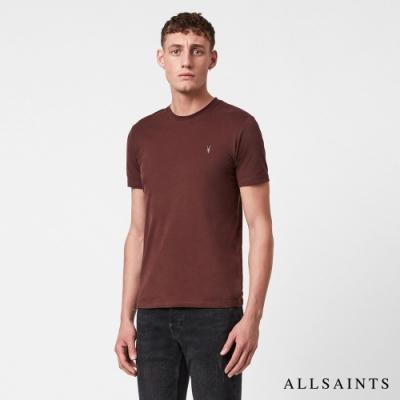 ALLSAINTS BRACE TONIC 公羊頭骨刺繡純棉修身短袖T恤-酒紅