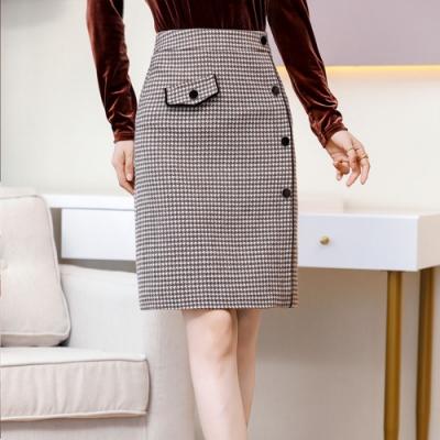 設計所在Lady-格子A字高腰毛呢一步短裙(二色M-2XL可選)