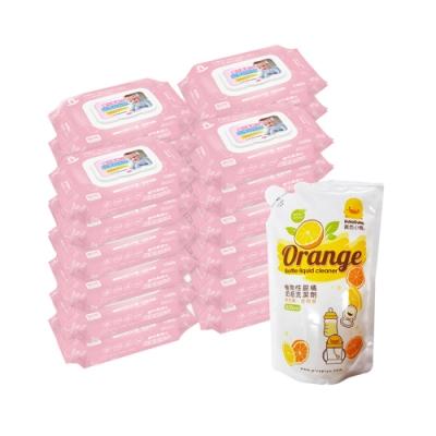 貝比Q EDI超厚超純水柔濕巾(80抽)x24包/箱/無香料+黃色小鴨 奶瓶洗潔劑補充包800ml