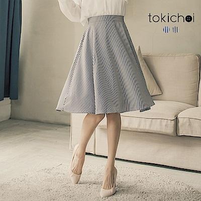 東京著衣 優雅氣質直條紋後腰鬆緊裙子-S.M(共二色)