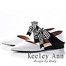 Keeley Ann 氣質甜美~方格緞帶蝴蝶結真皮尖頭平底鞋(白色-Ann)