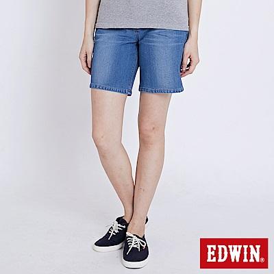 EDWIN 迦績褲JERSEYS涼感牛仔短褲-女-石洗綠