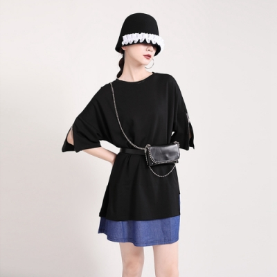 圓領五分袖T恤拼接撞色連身裙-F-CLORI