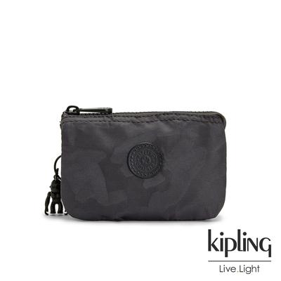Kipling 黑茶佐率性迷彩三夾層配件包-CREATIVITY S