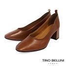 Tino Bellini義大利進口雅緻牛皮中粗跟鞋_棕