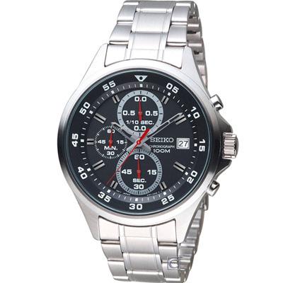 SEIKO 精工 經典時尚計時腕錶(SKS627P1)黑/42mm