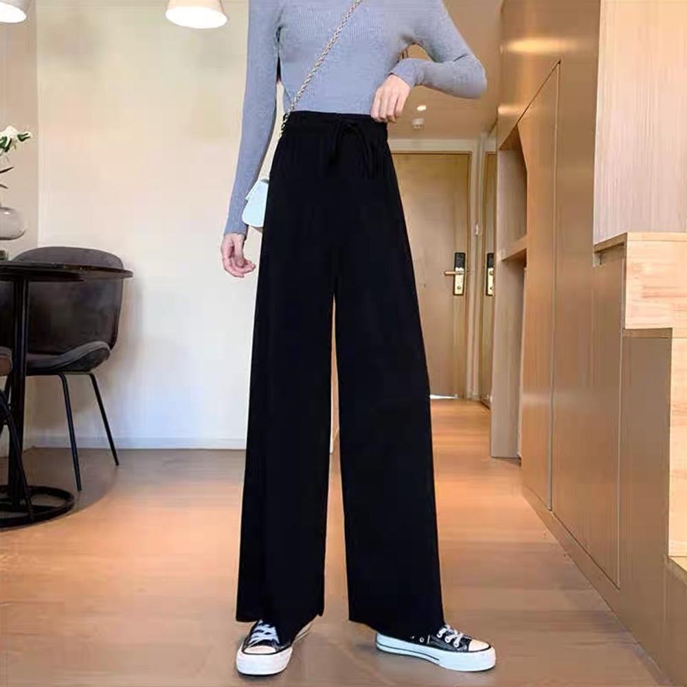【buyer 白鵝】簡約 細坑條直筒綁帶休閒褲(黑色)
