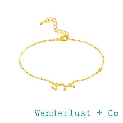 Wanderlust+Co 澳洲品牌 射手座手鍊 金色鑲鑽手鍊 SAGITTARIUS