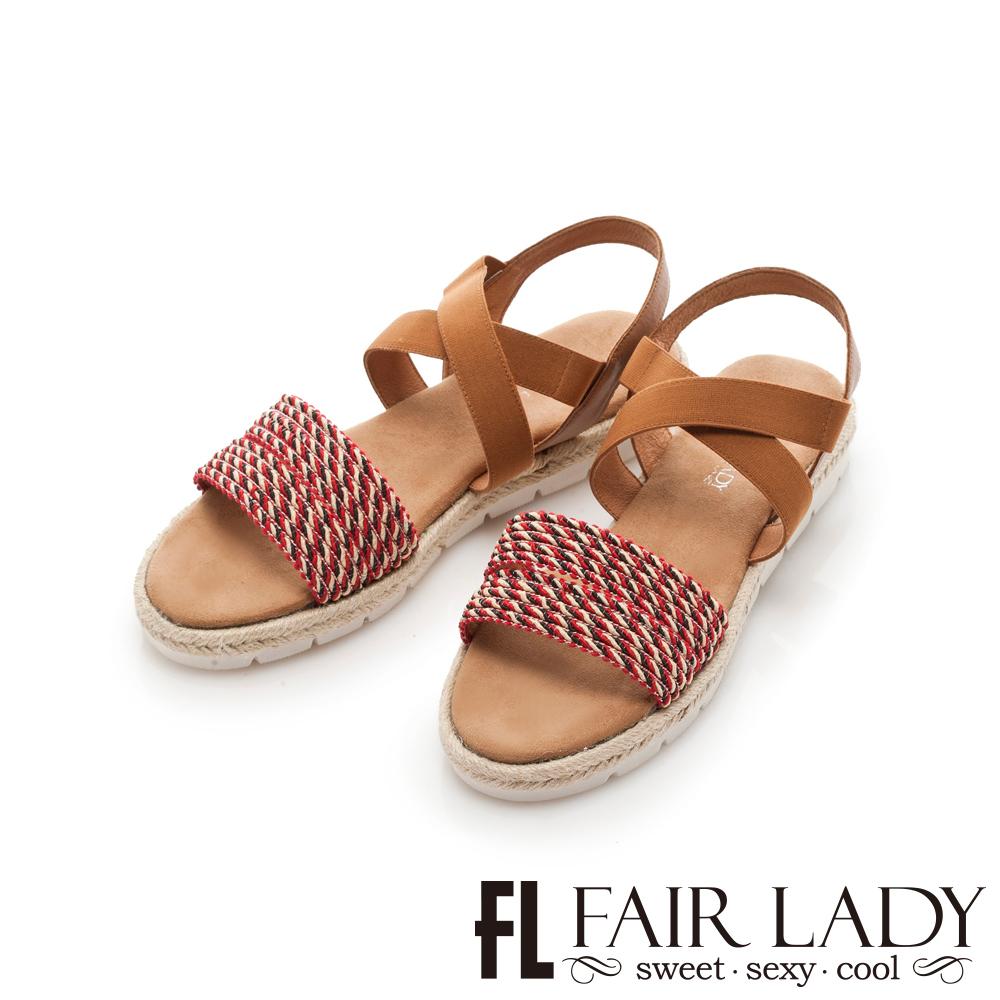 Fair Lady 民族風編織交叉鬆緊草編涼鞋 紅