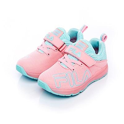 FILA KIDS中童電燈TPR慢跑鞋-粉藍 2-J827S-533