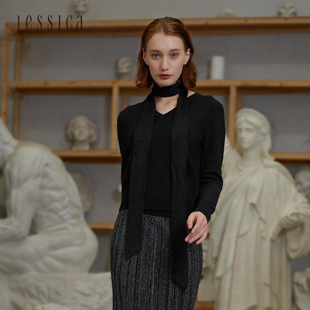 JESSICA - 黑色精緻百搭蝴蝶結V領羊毛混紡針織衫