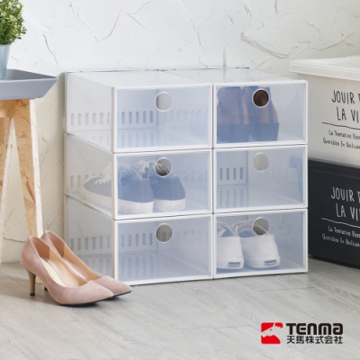 日本天馬 加高款前開式防臭層疊透明鞋靴收納盒-6入