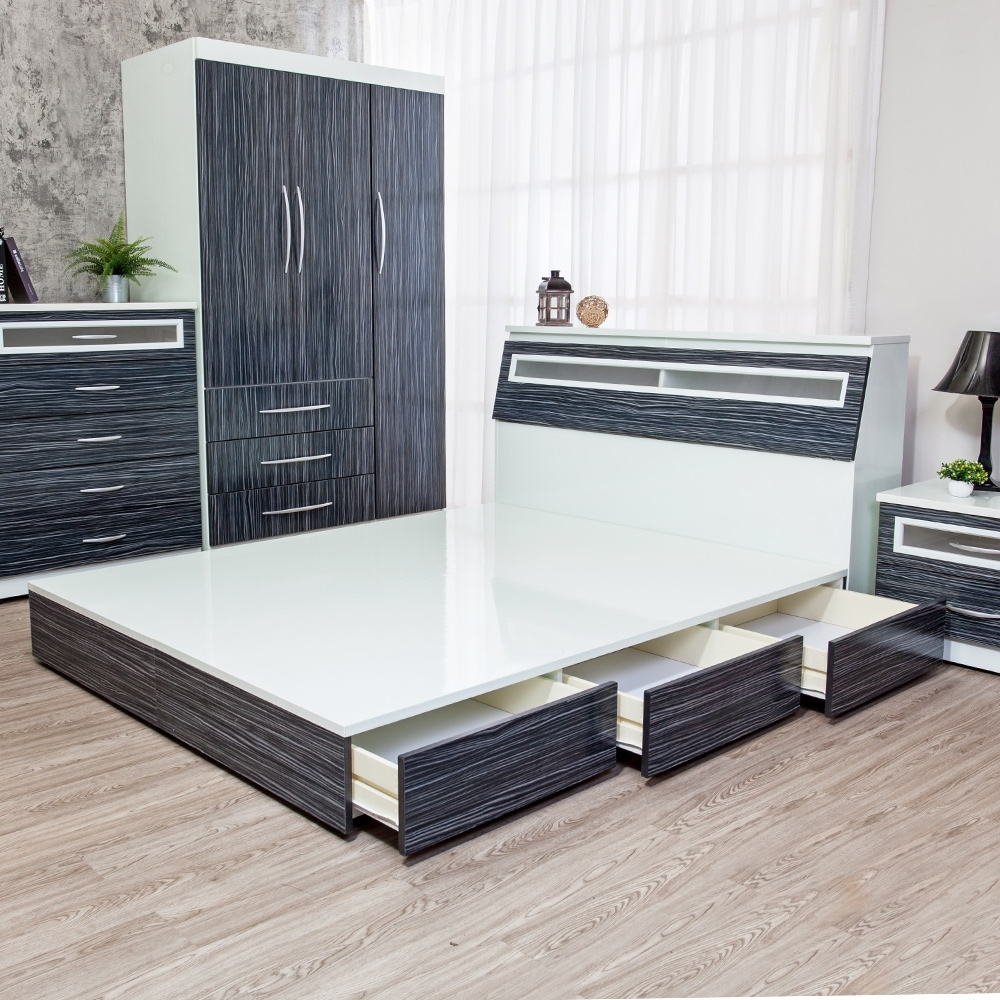 Birdie南亞塑鋼-5尺雙人六抽屜塑鋼床組(床頭箱+抽屜床底)(鐵刀木色)