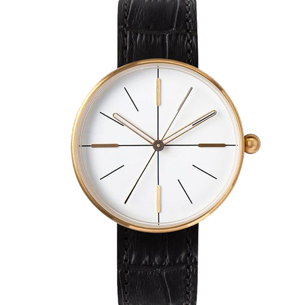 AÃRK 香檳金簡約時尚真皮革腕錶  –白色/38mm