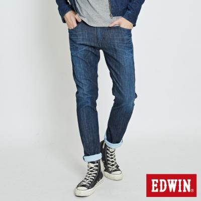EDWIN EDGE LINE COOL 涼感 藍袋花 窄直筒牛仔褲-男-酵洗藍