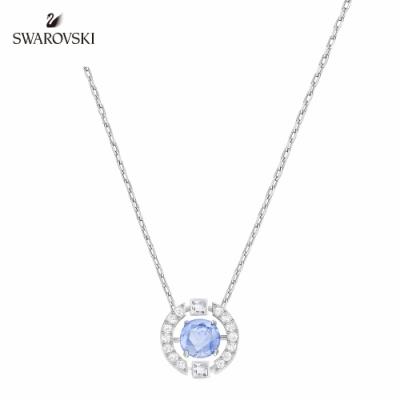 施華洛世奇 Sparkling 白金色閃耀舞動藍水晶項鏈