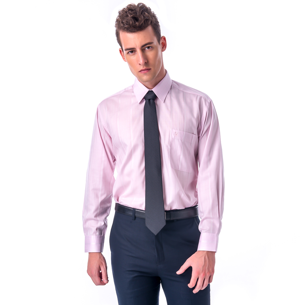 【金安德森】經典格紋繞領粉色暗紋長袖襯衫