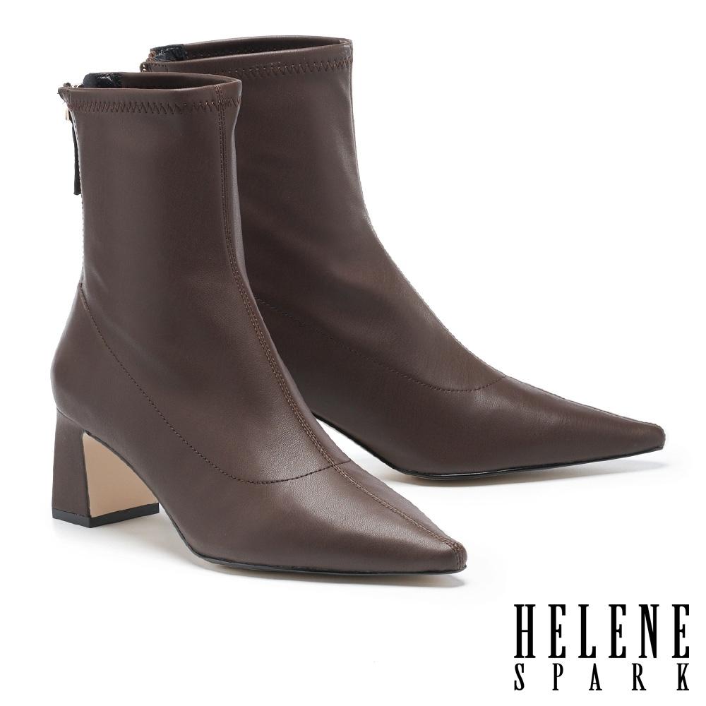 短靴 HELENE SPARK 極簡時尚彈力羊紋皮革尖頭粗高跟短靴-咖