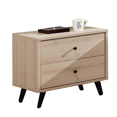 綠活居 羅利略時尚1.7尺木紋床頭櫃/收納櫃-51x40.5x51cm-免組