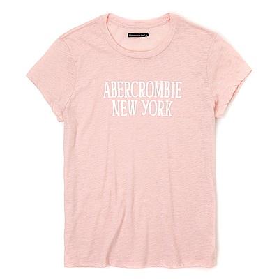 麋鹿 AF A&F 經典印刷文字設計短袖T恤(女)-粉色