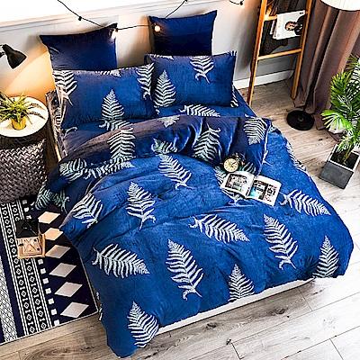 A-ONE法蘭絨 加厚兩用被毯雙人加大床包四件組 爵士線條(獨家花色)