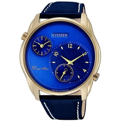 CITIZEN星辰手錶 Dual Time 雙時區男錶-金框/寶藍(AO3033-00L)/45mm 保固二年