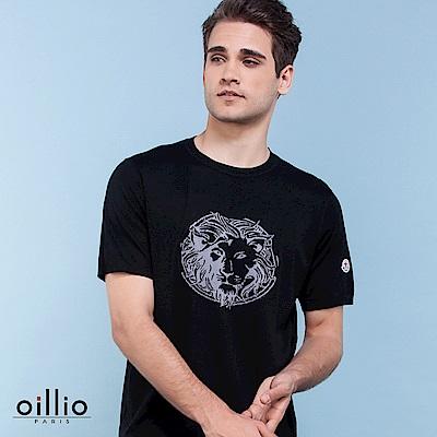 歐洲貴族oillio 短袖線衫 獅子圖案 超柔布料 黑色