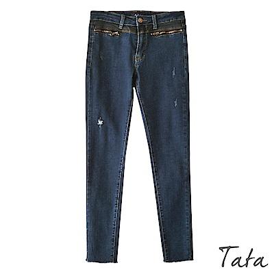 超彈拉鍊口袋牛仔長褲 TATA