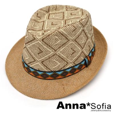 【滿額再75折】AnnaSofia 原住菱層圖騰 紳士帽爵士帽禮帽草帽(駝系)