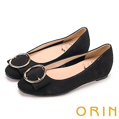 ORIN 甜美素雅 牛皮金屬圓型釦環平底娃娃鞋-黑色