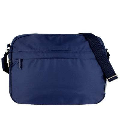 agnes b. VOYAGE 寶藍色尼龍方形斜背包