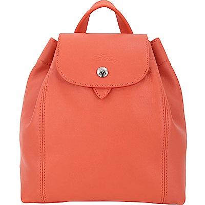 LONGCHAMP Le Pliage Cuir XS 小羊皮兩用後背包(赤橙色)