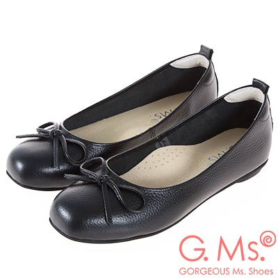 G.Ms. MIT系列-牛皮蝴蝶結方頭娃娃鞋-黑色