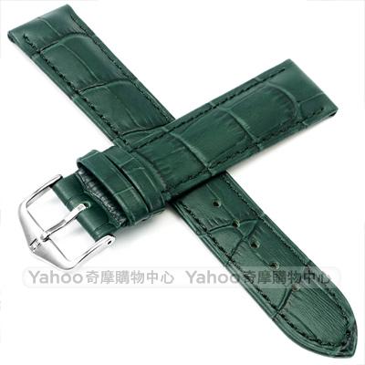海奕施 HIRSCH Duke L 小牛皮真皮革壓紋錶帶 防水可清洗-綠