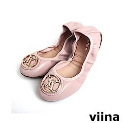 viina 經典款金扣蜥蜴紋摺疊鞋MIT-粉色