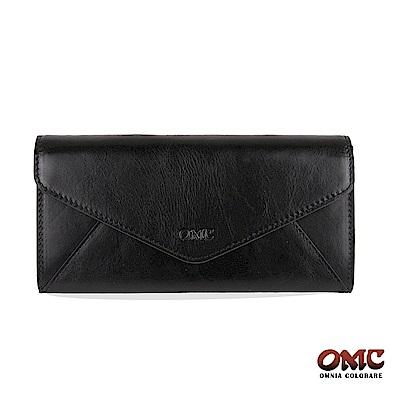 OMC 進口牛皮-信封型16卡雙格層後拉鏈袋長夾-黑色